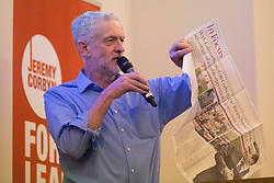© Licensed to London News Pictures. 25/08/2015. Southampton, UK.  Jeremy Corbyn makes his feelings about the conservative party clear as he delivers a speech at a rally held in the Hilton at the Ageas Bowl in Southampton after rumours for a Labour split.