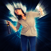 Digitally enhanced image of a young woman drinks red wine studio shot on white background