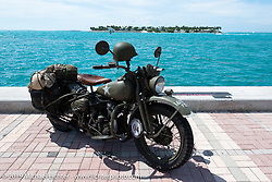 Randy Samz 1942 Harley-Davidson WLA in the Cross Country Chase motorcycle endurance run from Sault Sainte Marie, MI to Key West, FL. (for vintage bikes from 1930-1948). The Grand Finish in Key West's Mallory Square after the 110 mile Stage-10 ride from Miami to Key West, FL and after covering 2,368 miles of the Cross Country Chase. Sunday, September 15, 2019. Photography ©2019 Michael Lichter.