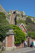 The East Hill Cliff Railway on the 20th April 2019 in Hastings in the United Kingdom. Hastings is a town on England's southeast coast, its known for the 1066 Battle of Hastings.