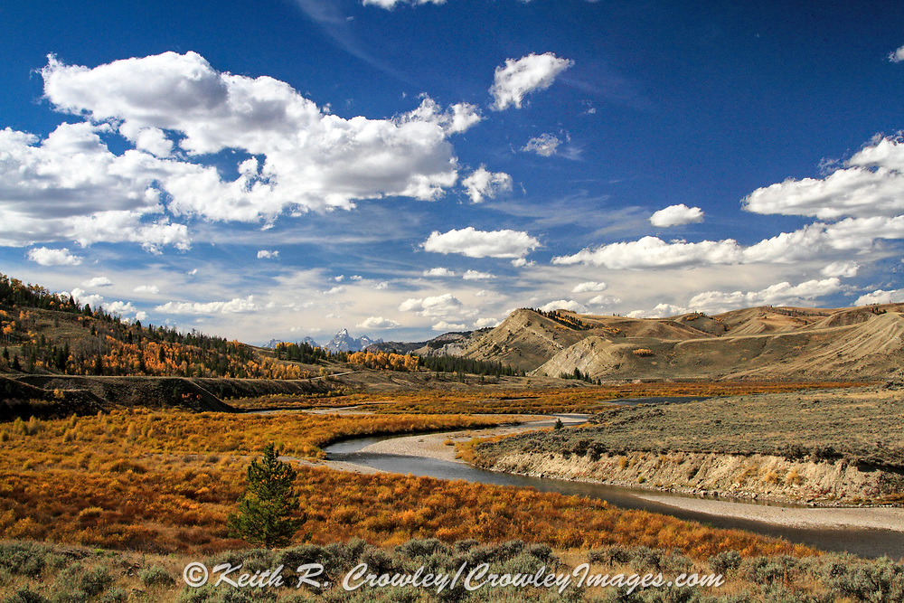 Upper Gros Ventre Valley with Teton Mountains in the distance, in autumn.