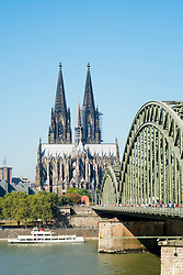 View across River Rhine to historic Cologne Cathedral