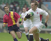 24/05/2002<br /> Sport - Rugby Union<br /> IRB World Sevens Series - Twickenham<br /> England v Spain<br /> Paul Sampson, breaks through for an first half try.<br />    [Mandatory Credit, Peter Spurier/ Intersport Images]<br />    [Mandatory Credit, Peter Spurier/ Intersport Images]