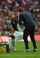 Photo: Tony Oudot.<br /> England v Estonia. UEFA European Championships Qualifying. 13/10/2007.<br /> Ashley Cole is helped off the pitch by goalkeeper Paul Robinson