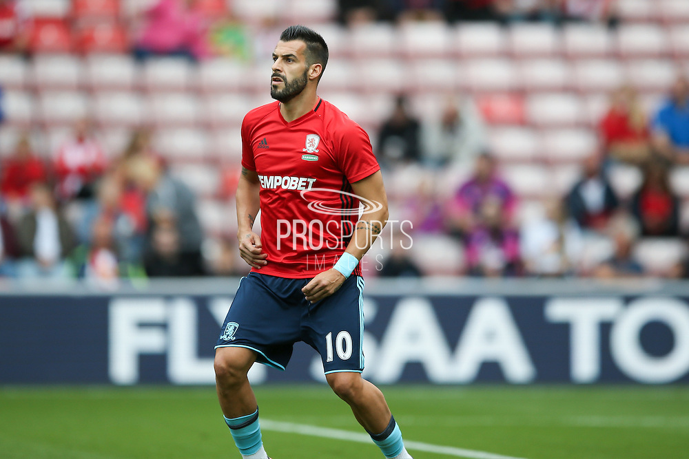 Middlesbrough forward, on loan from Valencia, Alvaro Negredo (10)  during the Premier League match between Sunderland and Middlesbrough at the Stadium Of Light, Sunderland, England on 21 August 2016. Photo by Simon Davies.