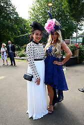 Racegoers Saira Rehman and Lorna Foxall during day five of Royal Ascot at Ascot Racecourse.