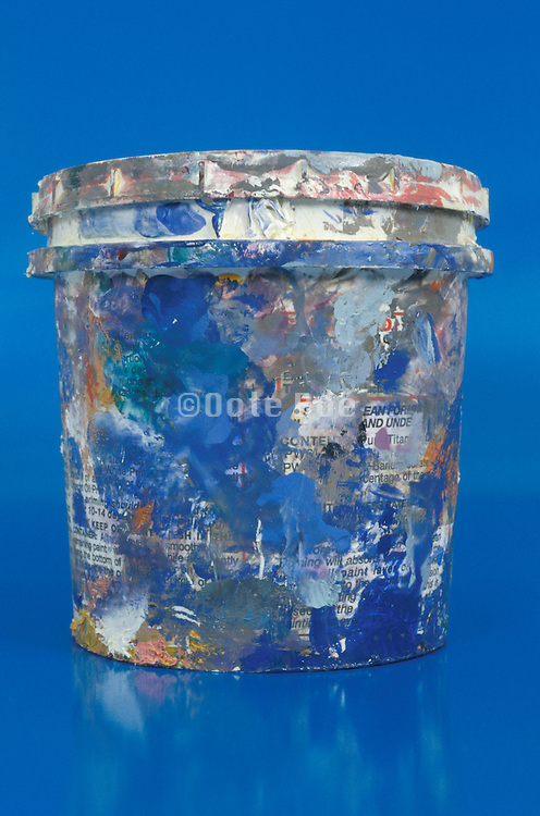 Paint can with dried paint drips