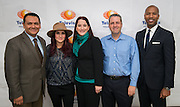 """L-R: Ed Gonzalez, Dulce Maria, Rosa Hernandez, Dr. Arturo Hernandez and Charles Foust pose for a photograph following a Televisa Foundation """"Live the Dream"""" event at Burbank Middle School, December 9, 2013."""