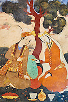 Iran, province d'Ispahan, Ispahan, Palais de Chehel Sotun, la salle du banquet, peinture murale, jeune femme persane servant du vin // Iran, Isfahan, Chehel Sotun palace, The Great hall or Throne hall painting, Persian woman pourring wine