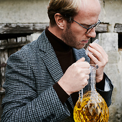 Xavier Desforges enjoying Maison Caulieres' oil. Dolus-le-Sec, France. October 7, 2019.