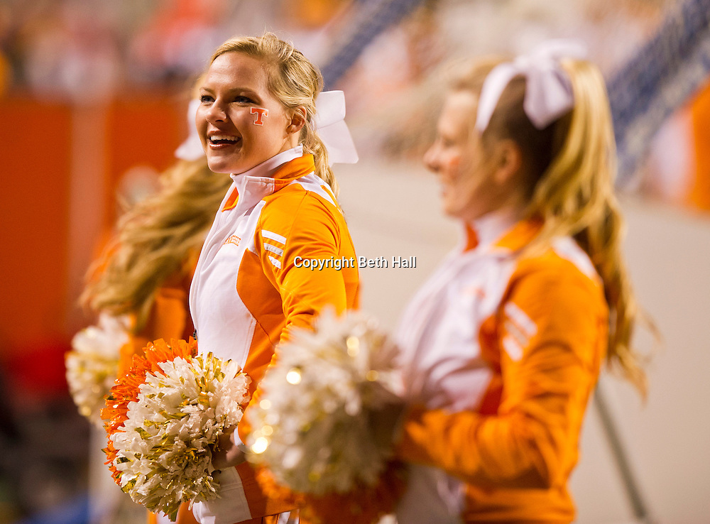 Nov 12, 2011; Fayetteville, AR, USA;  Tennessee Volunteers cheerleaders stand on the sidelines during a game against the Arkansas Razorbacks at Donald W. Reynolds Razorback Stadium. Arkansas defeated Tennessee 49-7. Mandatory Credit: Beth Hall-US PRESSWIRE