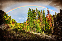 This was photographed just outside Crested Butte, Colorado and was photographed in the summer of 2012. It is a 3-photo HDR image that was processed using both Nik's HDR Efex Pro 2 software as well as Photomatix Pro.<br /> <br /> The rainbow that appeared after a brief afternoon shower was one of the brightest rainbows I had seen in some time. I quickly grabbed my camera from my RV, set it up on my tripod, and started firing away.
