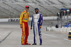 April 6, 2018 - Ft. Worth, Texas, United States of America - April 06, 2018 - Ft. Worth, Texas, USA: Darrell Wallace, Jr (43) and Joey Logano (22) chat before qualifying for the O'Reilly Auto Parts 500 at Texas Motor Speedway in Ft. Worth, Texas. (Credit Image: © Stephen A. Arce Asp Inc/ASP via ZUMA Wire)