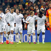 Real Madrid's Cristiano Ronaldo (B) celebrate his goal with team mate during their UEFA Champions League Quarter-finals, Second leg match Galatasaray between Real Madrid at the TT Arena AliSamiYen Spor Kompleksi in Istanbul, Turkey on Tuesday 09 April 2013. Photo by Aykut AKICI/TURKPIX