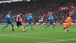 10 December 2017 Southampton : Premier League Football : Southampton v Arsenal : Charlie Austin scores the opening goal for Southampton.<br /> (photo by Mark Leech)