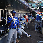 NEW YORK, NEW YORK - June 22: Lorenzo Cain #6 of the Kansas City Royals in the dugout preparing to bat during the Kansas City Royals Vs New York Mets regular season MLB game at Citi Field on June 22, 2016 in New York City. (Photo by Tim Clayton/Corbis via Getty Images)