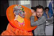 DANIEL LISMORE; MATTHEW WILLIAMSON,, Andrew Logan's Alternative Miss World 2014. Shakespeare's Globe, London. 18 October 2014.