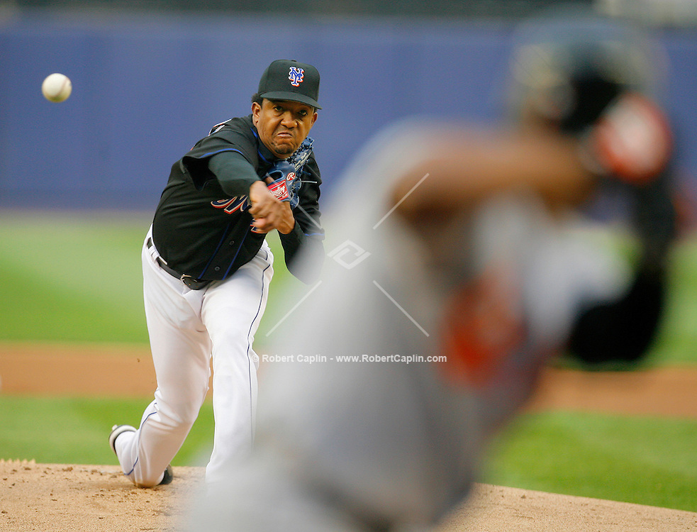 Pedro Martinez delivers a pitch in the first inning during the Baltimore Orioles vs New York Mets match-up at Shea Stadium Sat. June 17, 2006. Robert Caplin For The New York Times...