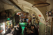 """Sol e Pesca"" bar in Lisbon Cais dos Sodré district at Rua Nova do Carvalho. ""Sol e Pesca"" speciality are canned-seafood."