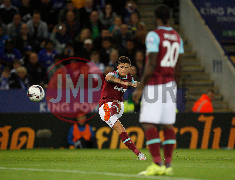 Aaron Cresswell of West Ham United has a shot at goal from a free kick  - Mandatory byline: Jack Phillips/JMP - 07966386802 - 22/09/2015 - SPORT - FOOTBALL - Leicester - King Power Stadium - Leicester City v West Ham United - Capital One Cup Round 3