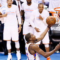 08 May 2016: Oklahoma City Thunder forward Kevin Durant (35) goes for the layup during the Oklahoma City Thunder 111-97 victory over the San Antonio Spurs, during Game Four of the Western Conference Semifinals of the NBA Playoffs at the Chesapeake Energy Arena, Oklahoma City, Oklahoma, USA.
