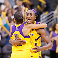 03 August 2014: Los Angeles Sparks guard Lindsey Harding (10) celebrates with Los Angeles Sparks forward Nneka Ogwumike (30) during the Los Angeles Sparks 70-69 victory over the Connecticut Sun, at the Staples Center, Los Angeles, California, USA.