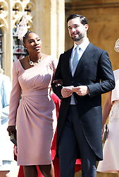 US tennis player Serena Williams and her husband Alexis Ohanian arrive at St George's Chapel in Windsor Castle for the wedding of Prince Harry and Meghan Markle.