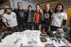 The Cycle Zombies with some friends in their booth at the Mooneyes Yokohama Hot Rod & Custom Show. Yokohama, Japan. December 4, 2016.  Photography ©2016 Michael Lichter.