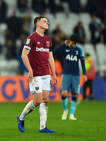 Football - 2018 / 2019 EFL Carabao (League) Cup - Fourth Round: West Ham United vs. Tottenham Hotspur<br /> <br /> West Ham United's Declan Rice leaves the pitch after the 3-1 defeat, at the London Stadium<br /> <br /> COLORSPORT/ASHLEY WESTERN