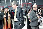 RON ARAD; SIR MARK JONES; NIGEL COATES, Yohji Yamamoto exhibition opening. V & A Museum. London. 10 March 2011. -DO NOT ARCHIVE-© Copyright Photograph by Dafydd Jones. 248 Clapham Rd. London SW9 0PZ. Tel 0207 820 0771. www.dafjones.com.