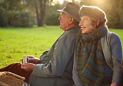 Senior couple sitting side by side in a park