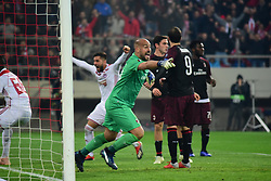 December 13, 2018 - Piraeus, Attiki, Greece - Reaction of Pege Reina (no 25) goalkeeper of Milan, after the first goal of Olympiacos. (Credit Image: © Dimitrios Karvountzis/Pacific Press via ZUMA Wire)