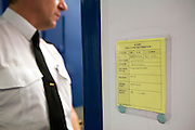 A fictitious prisoners cell card from a training exercise for prison officers. HMP Wandsworth, London, United Kingdom