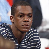 15 July 2012: Boston Celtics Rajon Rondo is seen court side during a pre-Olympic exhibition game won 75-70 by Spain over France, at the Palais Omnisports de Paris Bercy, in Paris, France.