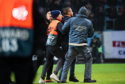 February 14, 2019 - MalmÃ, Sweden - 190214 Security personel handles a pitch invader during the Europa league match between Malmö FF and Chelsea on February 14, 2019 in Malmö..Photo: Ludvig Thunman / BILDBYRÃ…N / kod LT / 92225 (Credit Image: © Ludvig Thunman/Bildbyran via ZUMA Press)
