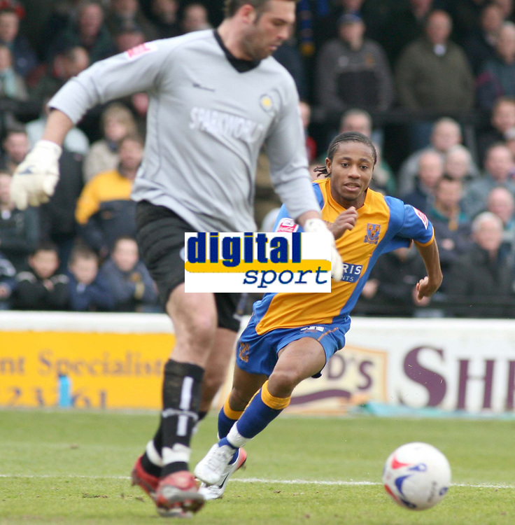 Photo: Mark Stephenson.<br />Shrewsbury Town v Torquay United. Coca Cola League 2. 24/03/2007. Derek Asamoah finds himself one on one with the Torquay keeper Simon Rayner but fails to find the back of the net