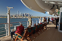 Passengers line the decks to have a farewell view of the Big Apple, New York, USA, as the Queen Mary 2 sets sail for Southampton, UK, 3rd May 2013, 201305042377<br /> <br /> Copyright Image from Victor Patterson, 54 Dorchester Park, Belfast, UK, BT9 6RJ<br /> <br /> Tel: +44 28 9066 1296<br /> Mob: +44 7802 353836<br /> Voicemail +44 20 8816 7153<br /> Skype: victorpattersonbelfast<br /> Email: victorpatterson@me.com<br /> Email: victorpatterson@ireland.com (back-up)<br /> <br /> IMPORTANT: If you wish to use this image or any other of my images please go to www.victorpatterson.com and click on the Terms & Conditions. Then contact me by email or phone with the reference number(s) of the image(s) concerned.