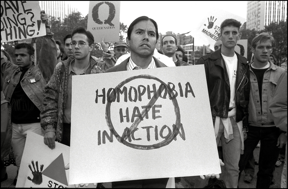 On October 25, 1990, nearly 200 members of the GLBTQ community rallied outside the Police Department's Headquarters accusing the city of failing to counter anti-gay violence.