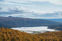 View over lake Gautsträsk and surrouding autumn landscape along Kungsleden Trail, Lapland, Sweden