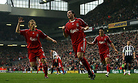 Photo: Paul Thomas.<br /> Liverpool v Sheffield United. The Barclays Premiership. 24/02/2007.<br /> <br /> Robbie Fowler (C) of Liverpool celebrates his second penalty with Dirk Kuyt (L) and Mark Gonzalez.