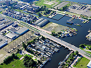 Nederland, Noord-Holland, Gemeente Amsterdam; 02-09-2020; Buiksloterham, Klaprozenweg en Buiksloterdijk. Haven voor Woonschepen.<br /> Buiksloterham, Klaprozenweg and Buiksloterdijk. Harbor for Houseboats.<br /> <br /> luchtfoto (toeslag op standaard tarieven);<br /> aerial photo (additional fee required)<br /> copyright © 2020 foto/photo Siebe Swart