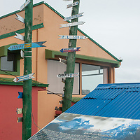 Signposts in Punta Arenas, Chile, a major port and stopover on the Strait of Magellan.