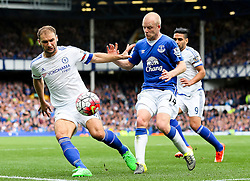 Everton's Steven Naismith battles with Branislav Ivanovic of Chelsea  - Mandatory byline: Matt McNulty/JMP - 07966386802 - 12/09/2015 - FOOTBALL - Goodison Park -Everton,England - Everton v Chelsea - Barclays Premier League