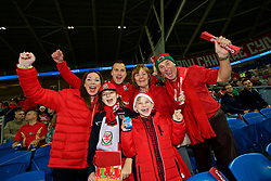 CARDIFF, WALES - Monday, October 9, 2017: Wales supporters ahead of the 2018 FIFA World Cup Qualifying Group D match between Wales and Republic of Ireland at the Cardiff City Stadium. (Pic by Paul Greenwood/Propaganda)