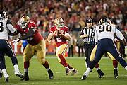 San Francisco 49ers quarterback Blaine Gabbert (2) looks for an open receiver against the Los Angeles Rams at Levi's Stadium in Santa Clara, Calif., on September 12, 2016. (Stan Olszewski/Special to S.F. Examiner)