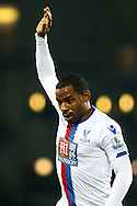 Jason Puncheon of Crystal Palace holds his hand up. Barclays Premier league match, Everton v Crystal Palace at Goodison Park in Liverpool, Merseyside on Monday 7th December 2015.<br /> pic by Chris Stading, Andrew Orchard sports photography.
