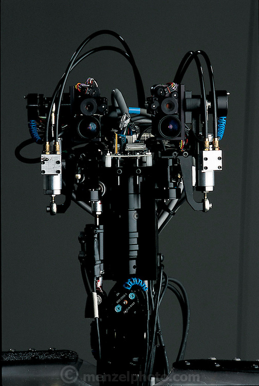 "DB gazes intently at the camera by means of two pairs of lenses in each ""eye."" In a configuration increasingly common in humanoid robots, one lens in each pair sharply focuses on the center of the visual field while the other gives a broader perspective. These two points of view, surprisingly, mimic the human eye, which seamlessly blends together information from the fovea centralis, a small area of precise focus in the center of the retina, and the parafovea, a larger, but much less acute area surrounding the fovea. Similarly, DB has a vestibular system in its ears, vestibular systems being the inner-ear mechanisms that people use to balance themselves.  The DB project is funded by the Exploratory Research for Advanced Technology (ERATO) Humanoid Project and led by independent researcher Mitsuo Kawato. Based at a research facility 30 miles outside of Kyoto, Japan."