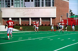 September 22, 2001:  Illinois State Redbirds Football, Dennis Butler and Semo's Willie Ponder go for the same pass..This image was scanned from a print.  Image quality may vary.  Dust and other unwanted artifacts may exist.