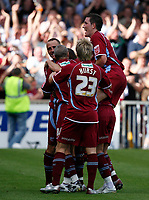 Photo: Steve Bond.<br />Scunthorpe United v Sheffield United. Coca Cola Championship. 01/09/2007. Martin Paterson is congratulated after scoring No2