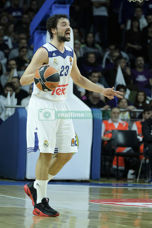 February 24, 2017 - Madrid, Madrid, Spain - Sergio Llull of Real Madrid during the 2016/2017 Turkish Airlines Euroleague Regular Season Round 23 game between Real Madrid and Darussafaka Dogus Istanbul at Barclaycard Center on February 24, 2017 in Madrid, Spain. (Credit Image: © Oscar Gonzalez/NurPhoto via ZUMA Press)